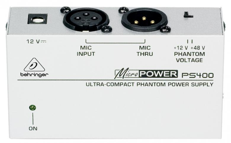 BEHRINGER MICROPOWER PS400, Phantom Virtalähde, valittavissa +12/ +48V, Ultra-Compact Phantom Power Supply. Mikäli mikserissäsi ei ole 48V syöttöä, nou problem. Tällä se onnistuu!