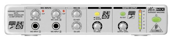 BEHRINGER MINIMIX MIX800, Karaoke Mikseri MIX800:n hämmästyttävällä Voice Canceller -toiminnolla voit poistaa biiseistä lauluraidat ilman että muun musiikin presenssi kärsii. Ultra-Compact Karaoke Machine with Voice Canceller and FX. Tämä setti on loistava, kun haluat tehdä DVD soittimestasi kotikaraoke keskuksen.