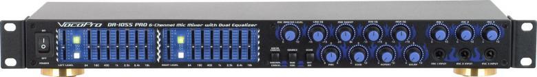 VOCOPRO DA-1055PRO Karaoke mikseri Professional 6 MIC Digital Echo Mixer/Parametric Equalizer Karaoke-mixeri!DA-1055Pro mahdollistaa sen ja on siksi loistava lisä käytettäväksi karaoke-soittimien kanssa.<br /> Voit liittää siihen kaksi kuva- ja äänilähdettä esim. DVD ja VHS soittimet.Liitännät kuudelle mikille kolmella äänenvoimakkuuden säädöllä mahdollistavat kuuden laulajan esiintymisen yhtä aikaa. Ammattitason digitaalinen kaiku delay- ja repeat säädöillä ja kolmealueinen parametrinen EQ mikeille saa laulajan kuulostamaan uskomattomalta!