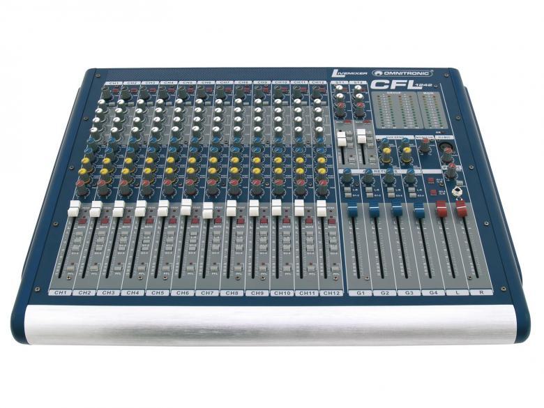 OMNITRONIC CFL-1242 on laadukas mikseri 12xmono sekä 2xstereo kanavaa. Mikserisarja soveltuu keikkakäyttöön. Sarjassa neljä erikokoista mikseriä 16-32 mono kanavaa 12-channel live mixer, 12 mono inputs with XLR-sockets and balanced line inputs. Mitat 530 x 530 x 160 mm sekä paino 14kg.