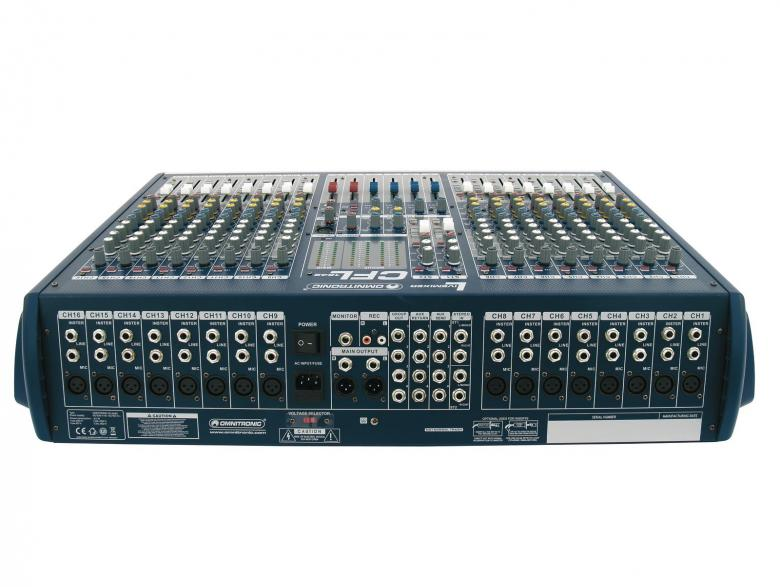 OMNITRONIC CFL-1642 on laadukas mikseri edulliseen hintaan. Mikserisarja soveltuu keikkakäyttöön. Sarjassa neljä erikokoista mikseriä 16-32 mono kanavaa.  16-channel live mixer, 16 mono inputs with XLR-sockets and balanced line inputs