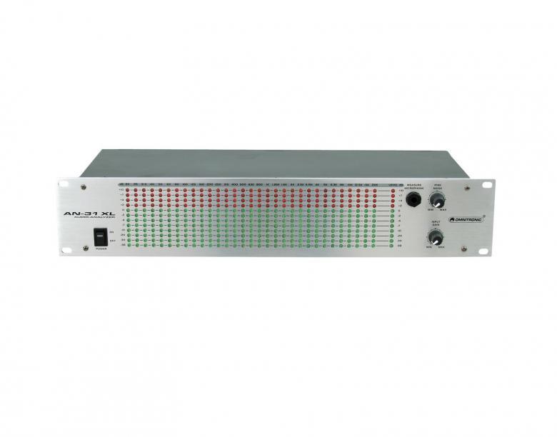 OMNITRONIC AN-31XL Audio Analysaattori 31-alueinen Spektri analysaattori sis. Mitta mikrofonin. Signaalin sisäänmeno RCA johdolla. Tuote on räkki asenteinen ja mitat 483 x 170 x 88 mm, 3,0kg.