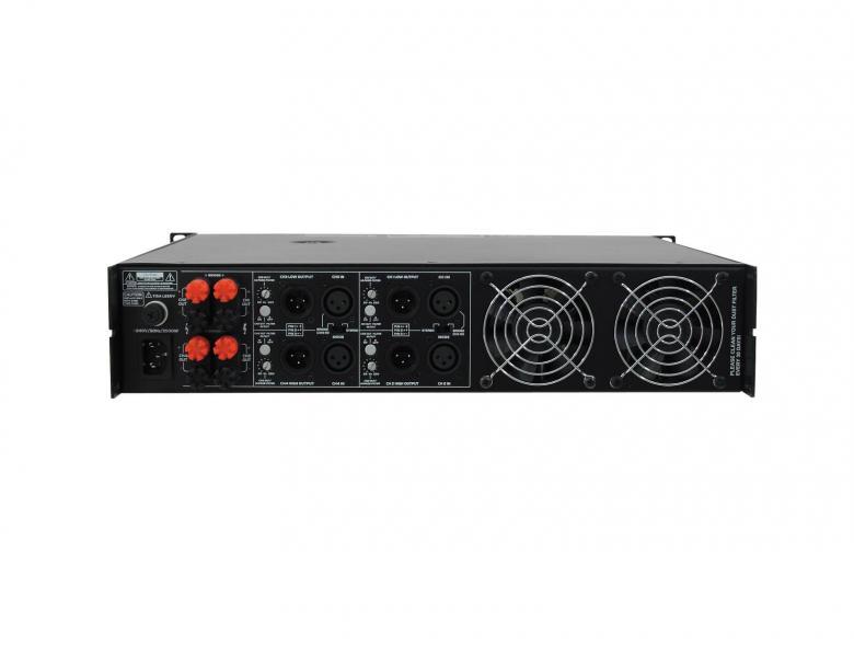 OMNITRONIC MCP-4600 monikanava päätevahvistin 4x 650W 4Ohmia. Erittäin tehokas nelikanava pääte ammatti ja harraste käyttöön. Soveltuu vaikka ravintolaan laajemman alueen äänentoistoon. Voidaan myös sillata 2x1250W vaikka kahdelle bassolle. Mitat 482 x 490 x 90 mm sekä paino 28,00kg.