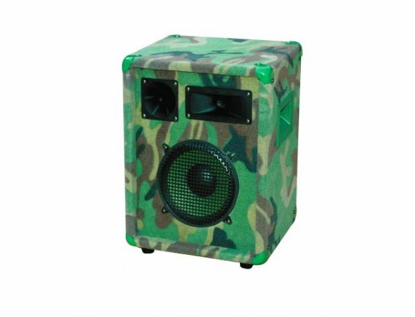 OMNITRONIC CMX-1002 3-way speaker, RSM 200 W, Max. SPL 95 dB, Camouflage style, 3-way party speaker-system for disco and rock music