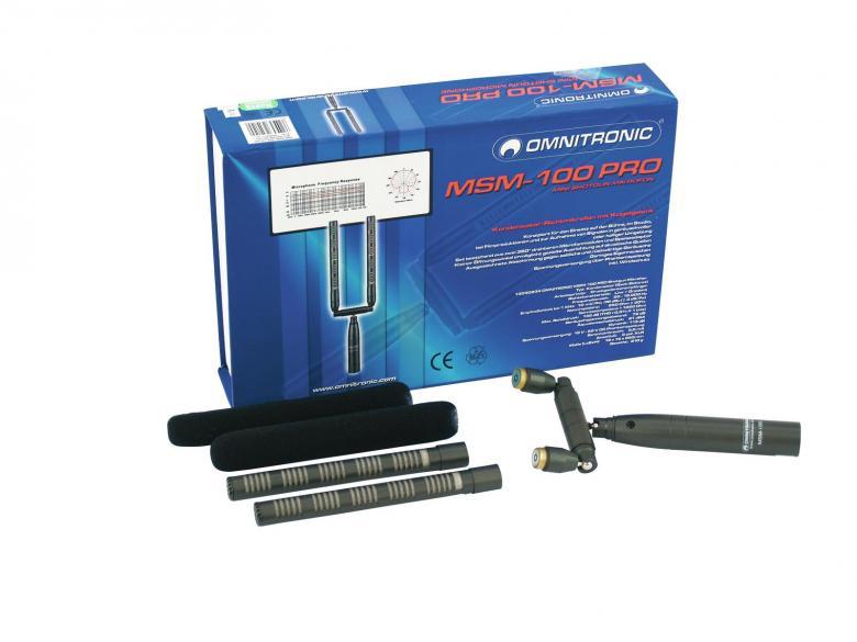 OMNITRONIC MSM-100 PRO Haulikko mikrofoni studio tai live taltiointiin. Setti sisältää 2kpl 360° kierrettäviä kapseleita sekä yksi yhteinen kiinnitys moduuli. Kondensaattori Mikrofoni tarvitsee 48V jännitteen mikseristä tai erillisestä virtalähteestä. Mukana 2kpl tuulisuojia. Mitat 19 x 19 x 238 mm sekä paino 0,56kg.