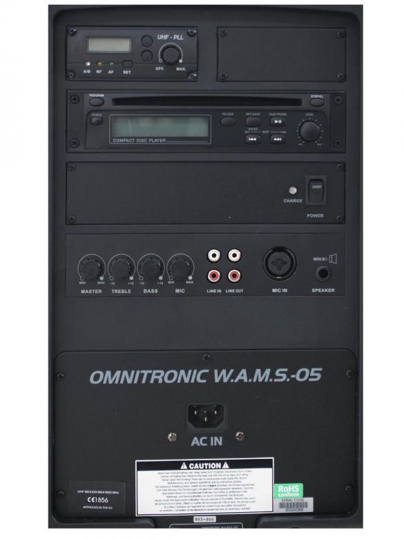 OMNITRONIC WAMS 05 Langaton äänentoistojärjestelmä, helppokäyttöinen äänentoisto ja langatonmikrofoni, CD-soitin, MP3. Vahvistin sekä kaiutin. Ladattavilla paristoilla toimiva. Helppo laajentaa: langaton audio signaali, lisämikit sekä kaikumoduuli! Mitat 470 x 300 x 230 sekä paino 12kg. Toimintaaika akun kanssa 3-4 tuntia. langaton taajuus käytettävissä vapaasti myös 2016 eteenpäin. Erilliset moduulit saatavilla langaton vastaanotto ja lähetys toisiin setteihin.