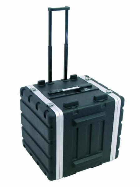 OMNITRONIC Muoviräkki pyörillä ja vetokahvalla, kevyttä ja kestävää ASB-muovia. Plastic rack 10HE DD trolley black, Professional hard-sided flight case for 483 mm units (19