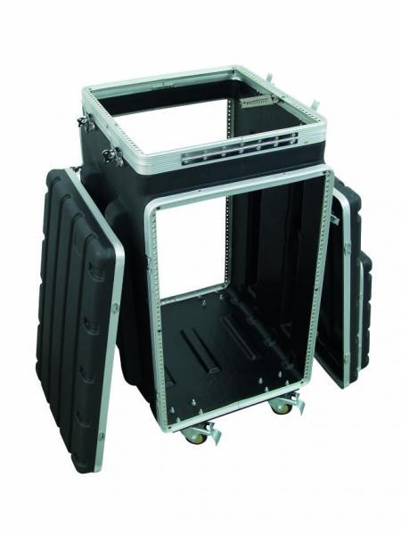 OMNITRONIC Kuljetuslaatikko ABS-muovia, pyörillä. Combi case plastic 10/12 U, Professional hard-sided flight case for 483 mm units (19