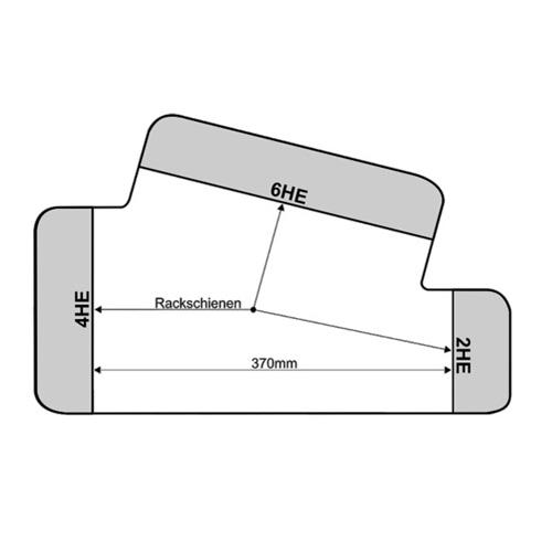 OMNITRONIC Combi case plastic 6/2/4U, Professional hard-sided flight case for 483mm units (19