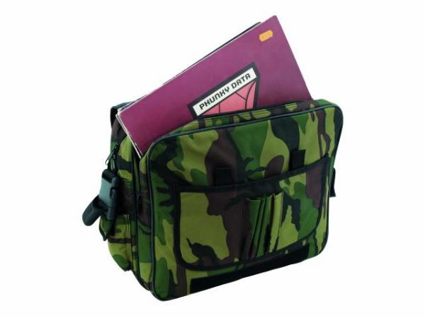 OMNITRONIC FB-40L cm#13 Record shoulder bag with integrated laptop pocket, 40 kpl vinyylejä sekä 1 kpl laptop!