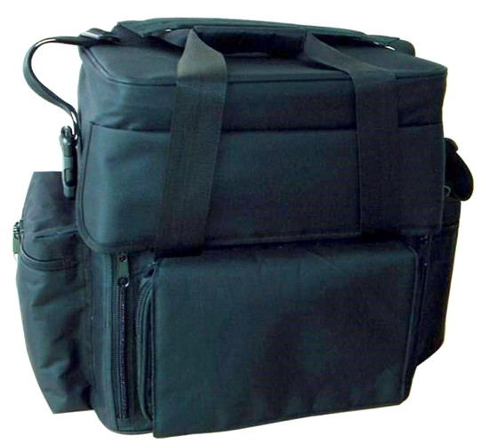 OMNITRONIC Record bag FB-90FS black, Pure luxury with flap front and diagonally cut top edge!