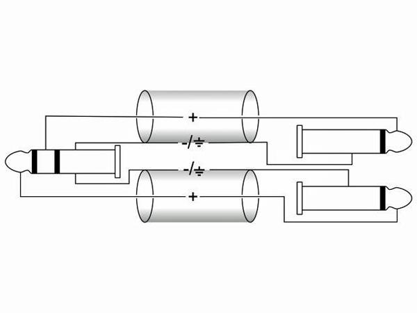 OMNITRONIC Plugi-kaapeli 6m, Jack Plug 3,5mm stereo - 2 x Jack Plug 6,3mm mono. AC40-60