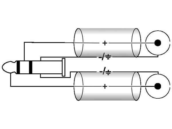 OMNITRONIC Plugi-RCA-adapterikaapeli 1,5m, Jack Plug 6,3mm stereo - 2 x RCA. AUX-15
