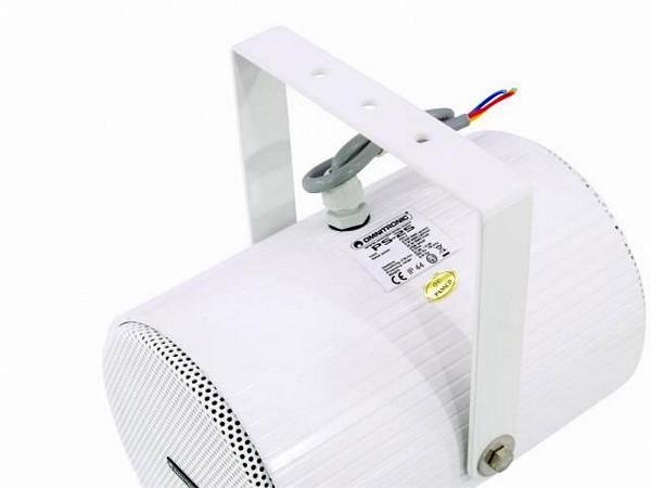 OMNITRONIC PS-25 100V kaiutin kahteen suuntaan säteilevä. Kaksi yhteen koteloon rakennettua kaiutinta. teho valittavissa 2,5/5/10W RMS. IP44.