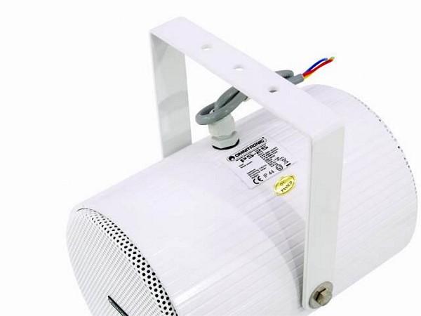OMNITRONIC PS-30 100V kaiutin, projektorikaiutin joka antaa äänen kahteen suuntaan. Valittavilla tehoalueilla. Soveltuu mm. myymälöihin. Tehot valittavissa 5/10/20W RMS. Kahdella kaiuttimella, seinä sekä kattoasennukseen. Asennus teline tulee mukana. IP44 eli sisään ja ulos asennettava! Runsaan jykevä 3.4kg.
