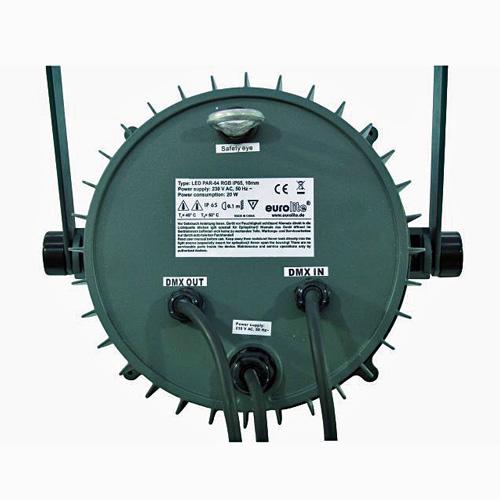 EUROLITE LED IP65 PAR-64 ulkovalaisin 145x 10mm RGB LEDiä 40°. Staattiset värit, RGB-värisekoitus, sisäänrakennetut ohjelmat, DMX-ohjaus tai IR-kauko-ohjaimella (hankittava erikseen), stand-alone, master/slave.