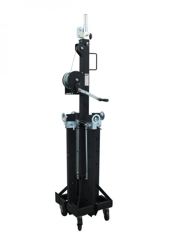 EUROLITE STC-480/150 trussi-, kaiutin- tai valoteline vinssillä, max. korkeus 4,8m, max. kuorma 150kg.