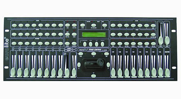 EUROLITE DMX Stage Control helppokäyttöinen DMX ohjain, 136 kanavaa. PAR heittimille sekä liikkuville valoille! 136 kontrolloitavaa kanavaa, 8 Liukua Ledeillä,  CF muistikorttipaikka ohjelmia varten 0/10V ulostulo, Erikseen ohjattavissa esim. Scanit+ parit. Mitat 483 x 180 x 93 mm   sekä paino 3.0kg.