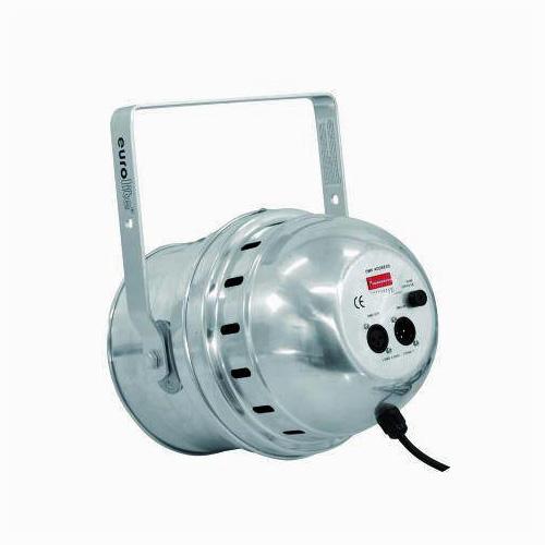 EUROLITE LED PAR-64 UV Led uv spotti, joka toimii normaalin UV valon tavoin, mutta on mahdollista ohjata DMX kautta. Väri alumiini, 10 mm UV Spot as LED DMX model, 183 LEDs, 30 W, 25-30°