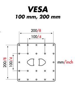 MELICONI Space System LCD 40 vesa 100 mm, 200, musta tai hopea