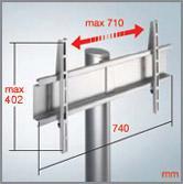 MELICONI Flat Vision Sky 200, lattiajalusta kahdella kirkkaalla lasihyllyllä ja hopeanvärisellä rungolla, runkorakenne alumiinia, cabless-järjestelmä johtojen piilottamiseen, TV:n max. paino 45 kg ja hyllyjen kantavuudet 7 kg