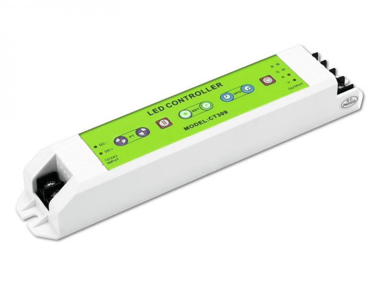 EUROLITE LED nauhojen RGB ohjain, soveltuu euroliten LED strip nauhoihin 12-24V. 4kpl sisäänrakennettuja ohjelmia, varustettuna pause nappulalla. Kirkkaus sekä nopeus säädettävissä. Voidaan kytkeä 15metriä led nauhaa putkeen. strip RGB controller. Virtalähde sekä asennustarvikkeet sisätyvät hintaan. Mitat 211 x 40 x 30 mm sekä paino 300gr.