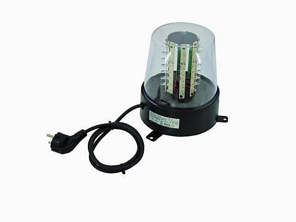 EUROLITE LED Poliisivalo, Valkoinen, Police Light 56 LEDs white 230V/ 32W. Dip kytkimien avulla voit valita 6 kpl eri tyyppisiä pyörintä efektejä. 56 lediä antavat huippuluokan valotehon moniin tilanteisiin.