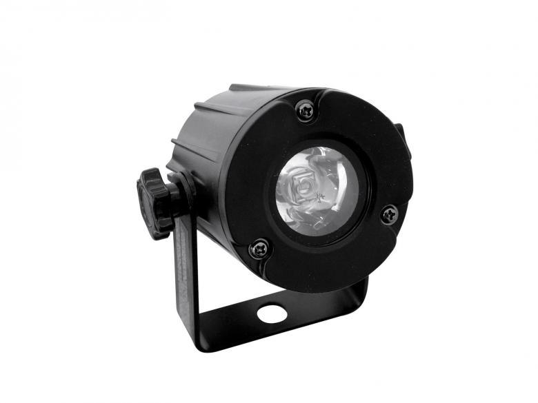EUROLITE LED valaisin PST-3W 6000K 6° Spot on pieni ja tehokas LED-spotti valkoisella LEDillä, vaikka peilipallo-spotiksi. Mitat 100 x 90 x 100 mm sekä paino 300g