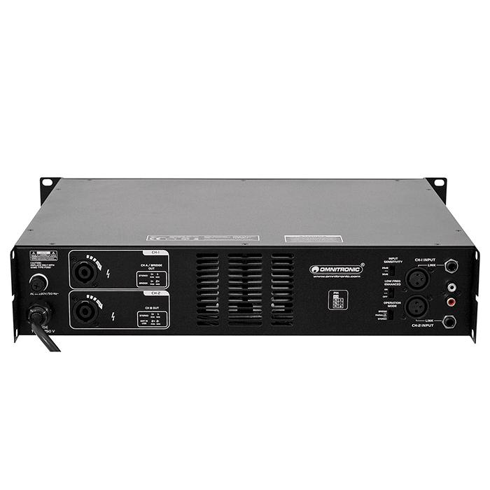 OMNITRONIC SMA-1000 Päätevahvistin 2x 500W 4ohmia on Erittäin laadukas sekä kevyt ja varustettu limitterillä. Mukava pääte vaikka keikkakäyttöön. Lämpötilaohjattu tuuletin, eli muuttuvanopeuksinen ja hiljainen käytössä. Kolme moodia Stereo, Paraller sekä bridge. Täydellinen suojaus oikosulkua, ylilämpöä, DC virtaa ja VHF signaalia varten. Sähköisesti balansoidut sisäänmenot XLR liittimillä. Mitat 390 x 483 x 92 mm paino vain 6.6kg.