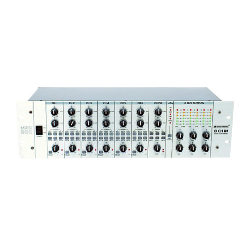 OMNITRONIC MZD-860 Matriisimikseri 8-kanavainen, kuusi XLR mikrofonisisäänmenoa joihin halutessa +48V phantom virtasyöttö, kuusi RCA-stereo linjasisäänmenoa, neljä aux RCA-stereo sisäänmenoa valintakytkimellä, kuusi master-ulostuloa XLR tai RCA, Mitat 482 x 200 x 133 mm sekä paino 4.5kg.