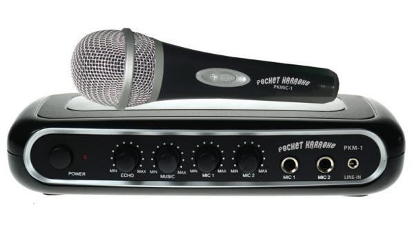 POCKET KARAOKE PKM-1 karaoke-mikseri + Mikrofoni karaokemikseri muuttaa DVD Soittimen, Blu-Ray soittimen, Tietokoneen, iPodin tai Pelikonsolin täydelliseksi kodin karaokelaitteistoksi!
