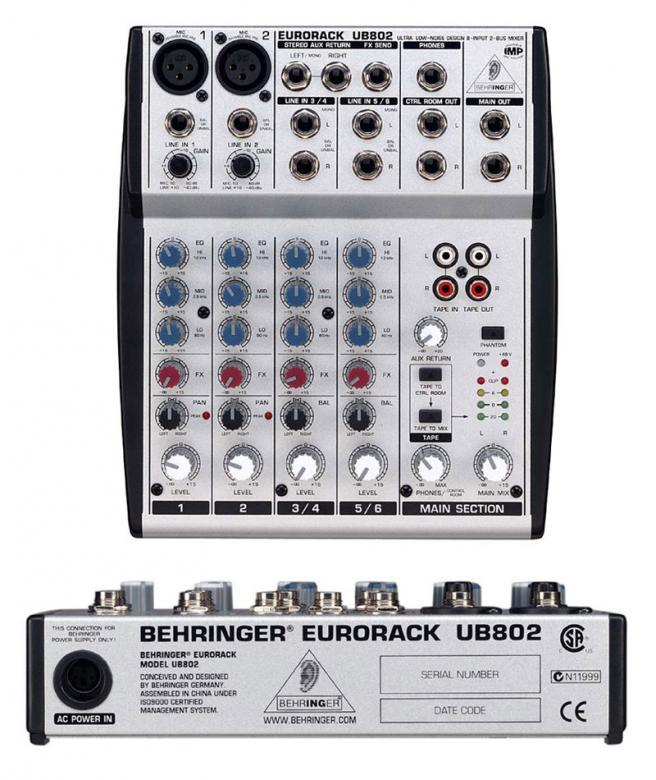 BEHRINGER Eurorack UB802 Mikseri, 6 balansoitua high headroom linjatuloa! Hieno pikku mikseri kierto säätimillä! Mikrofonietuastetta: State-of-the-art IMP