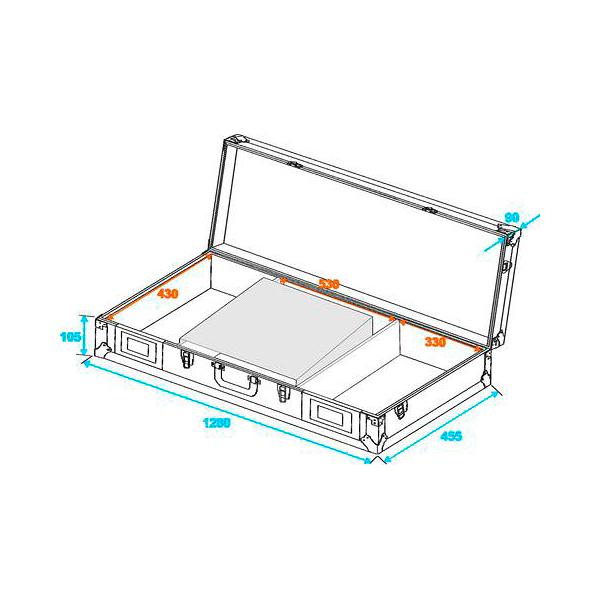 OMNITRONIC Kuljetuslaatikko laptop-telineellä 2:lle CD-soittimelle ja 19