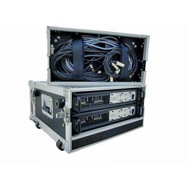 OMNITRONIC Vahvistinräkki pyörillä ja vetokahvalla. Amplifier rack with trolley 4U. Professional flight case for 483 mm units (19