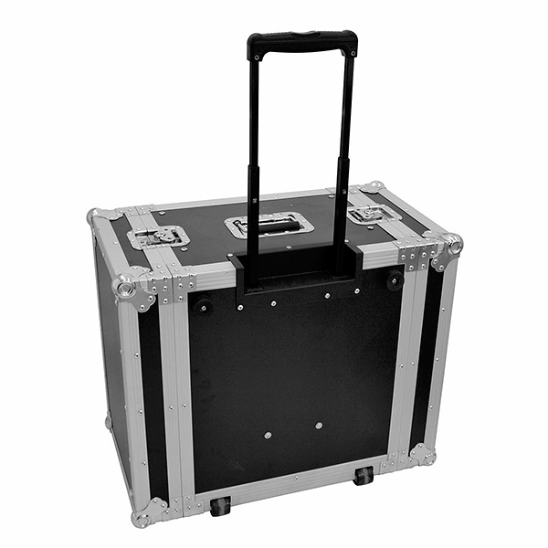 OMNITRONIC Vahvistinräkki pyörillä ja vetokahvalla. Amplifier rack with trolley 6U, Professional flight case for 483 mm units (19