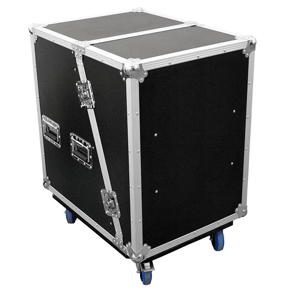 OMNITRONIC Vahvistinräkki & efektiräkki wheel boardilla. Amplifier rack & effect rack SLA-1 14U with wheel board. Professional flight case with castors