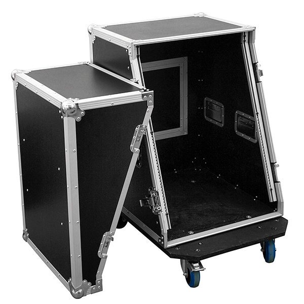 OMNITRONIC Vahvistinräkki & efektiräkki wheel boardilla. Amplifier rack & effect rack SLA-1 14U with wheel board. Professional flight case with castors