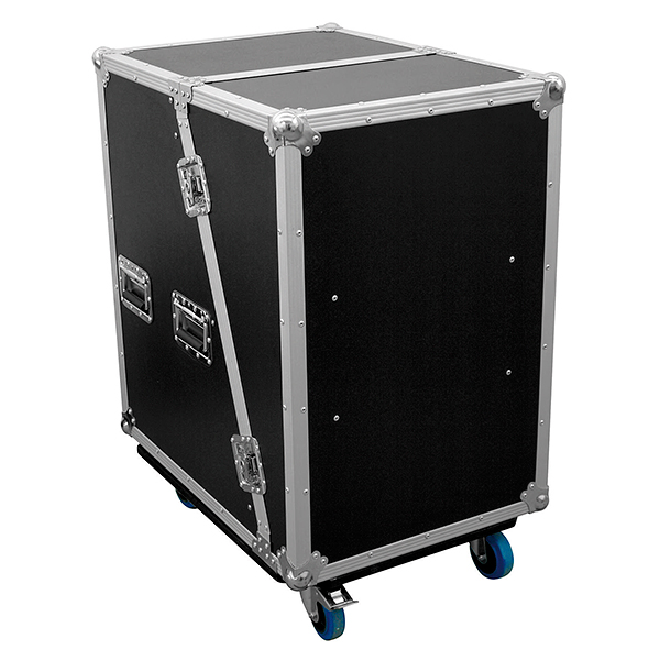 OMNITRONIC Vahvistinräkki & efektiräkki wheel boardilla. Amplifier rack & effect rack SLA-1 16U with wheel board. Professional flight case with castors