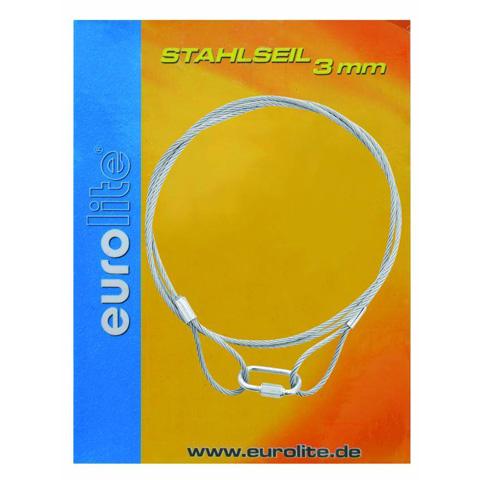 EUROLITE Steel rope 3mm x 1400mm silver, turvavaijeri ilman pikalukkoa!