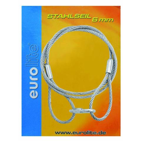 EUROLITE Steel rope 6mm x 1400mm silver quick link, turvavaijeri pikalinkillä!