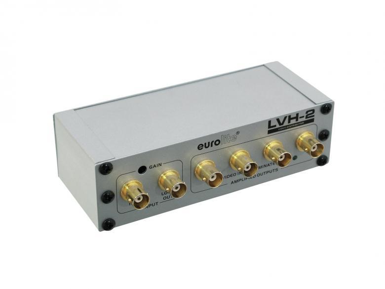 EUROLITE LVH-2 Videovahvistinjakaja 1 tulo 4 lähtöä jaa antennisignaalia moneen osaan varustettu yhdellä sisäänmenolla sekä neljällä ulostulolla BNC liittimet. Mitat 146 x 87 x 42 mm   sekä paino 0,37kg.