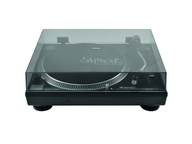 OMNITRONIC BD-1520 Hihnavetoinen levysoitin nopeudensäädöllä sekä 33 ja 45 nopeuksilla, musta. Laadukas levysoitin pölysuojalla, erittäin jämäkkä , mitat 450 x 352 x 148 mm sekä paino 10kg!!