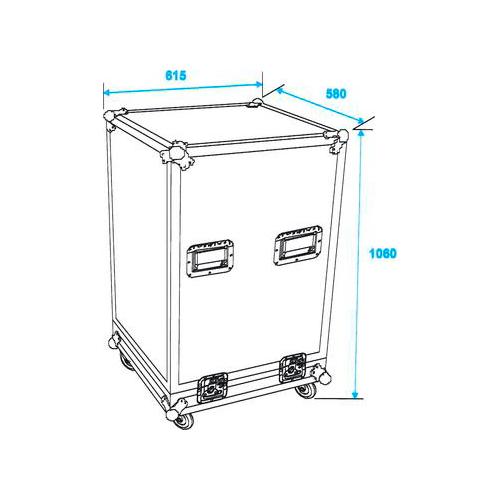 OMNITRONIC Kaksiosainen kuljetuslaatikko pyörillä ja räkeillä. Professional flight case with castors and rack units