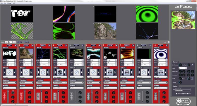 ARKAOS Media Master Express Video DJ softa, liitä vain tietokone ja voit käyttää laajaa valikoimaa video efektejä midi kontrollerilla tai tietokoneen näppäimistöllä!