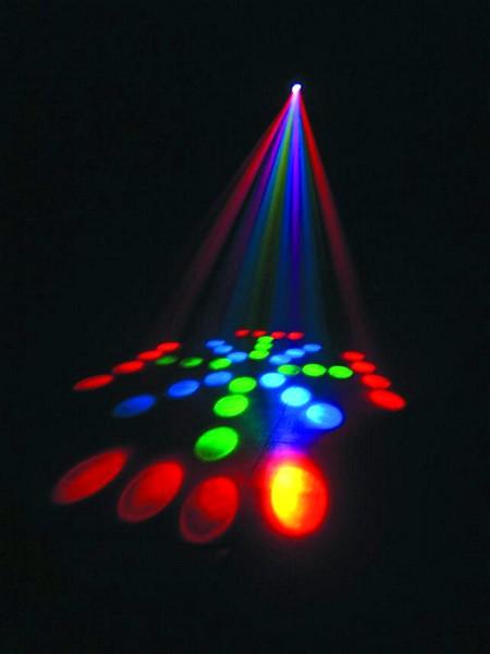 POISTO Futrurelight DJ LED CF-100 efektivalaisin. Todella upea led valoefekti laadukkaalla rungolla. Keikalle tai clubiin! DMX ohjattava, 3 kanavaa. Mitat 220 x 210 x 205 mm  sekä paino 2,4kg.