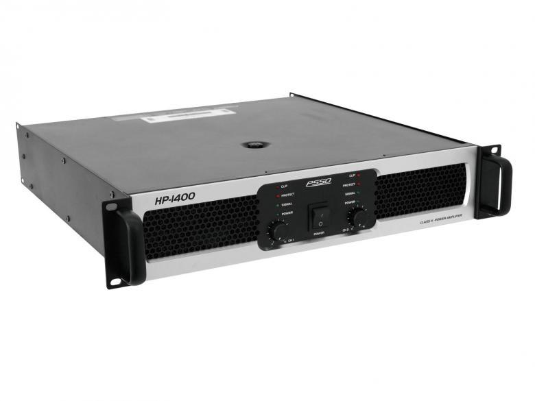 PSSO HP-1400 Päätevahvistin 2x 700W 4Ohmia, erittäin tehokas ja laadukas ammattitason päätevahvistin saksalaiselta osaajalta. H-luokan pääte, pehmeällä startilla, laadukas metallinen konstruktio. laitteessa sisäänrakennetut suojat, ylilämpöä, yliohjausta, oikosulkua varten. LED näytöstä näet suoraan operointi moden: signaali, limit ja suojaus.