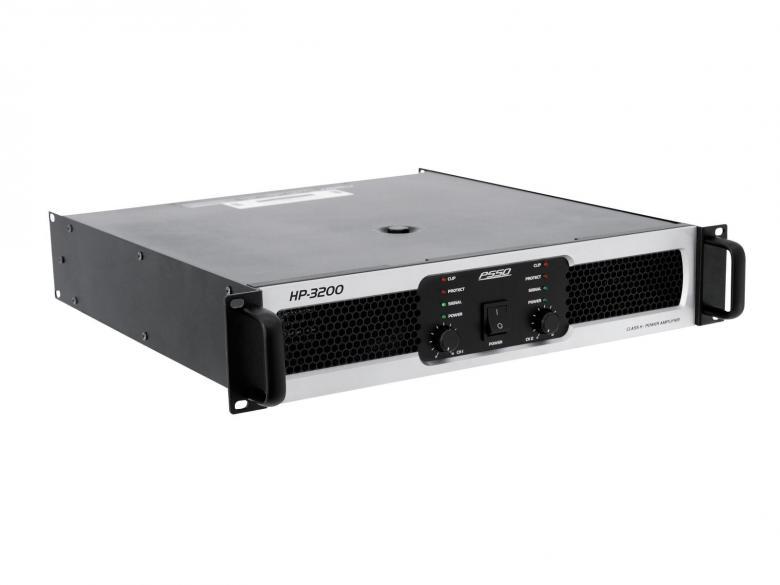 PSSO HP-3200 Päätevahvistin 3200W, amplifier, 2x 1600W/4Ohm, erittäin tehokas ja laadukas ammattitason päätevahvistin Saksalaiselta osaajalta. H- luokan pääte, pehmeällä startilla, laadukas metallinen konstruktio. laitteessa sisäänrakennetut suojat, ylilämpöä, yliohjausta, oikosulkua varten. Led näytöstä näet suoraan operointi moden: signaali, limit ja suojaus.
