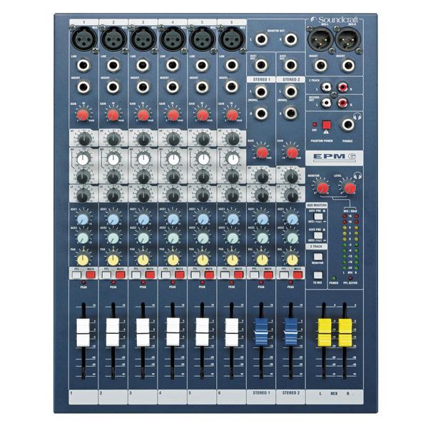 SOUNDCRAFT EPM6 studio, live mikseri 6x mic-line tuloa, 2+ 1 stereotuloa. Laatua pienessä koossa. balansoidut XLR ulostulot. Sama GB30 mikrofoni etuvahvistin kuin isoissa GB-sarjan saliäänipöydissä. Mitat Width 280mm Height 91mm Depth 362mm Weight 4.0 kg.