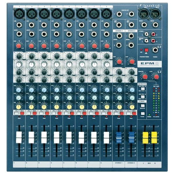 SOUNDCRAFT EPM8 studio pa mikseri- monikäyttömikseri 8mic- line tuloa, 2+ 1 stereotuloa. Laatua pienessä koossa. balansoidut XLR ulostulot. Sama GB30 mikrofoni etuvahvistin kuin isoissa GB-sarjan saliäänipöydissä.