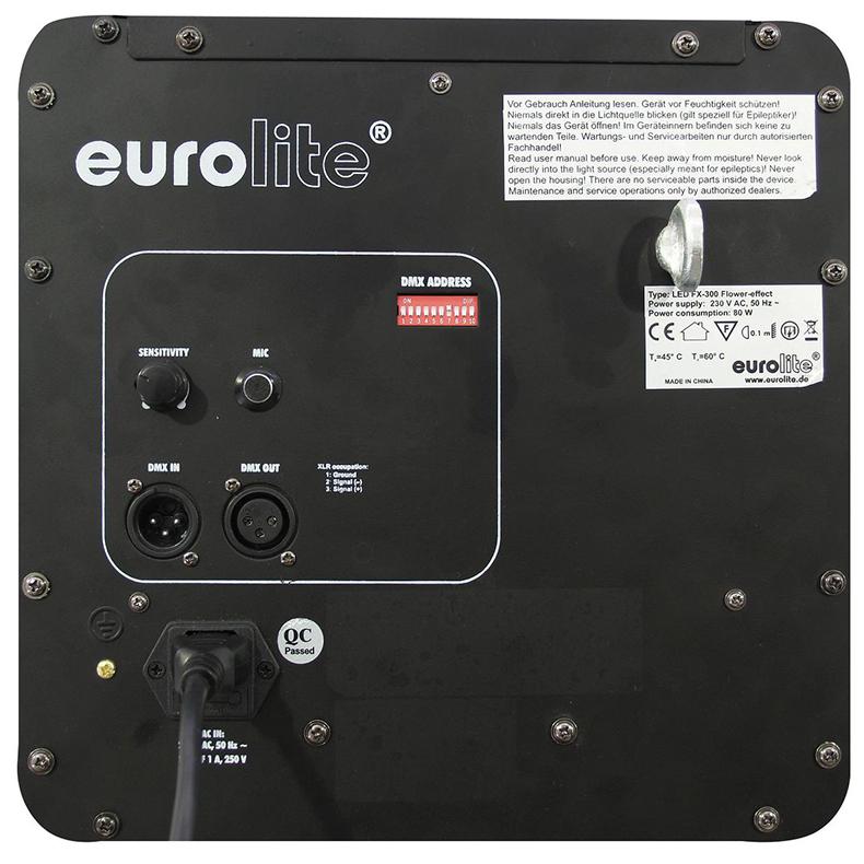 EUROLITE FX-300 LED-valoefekti RGB DMX 80W tehoa, eli peittoaa monet 250W kaasupurkaus valot. 469 pitkäikäistä LEDiä. 24 asteen aukeamiskulma täyttää tehokkaasti suurenkin tanssilattian tai muun tilan. DMX-ohjattava tai musiikkiohjattava sisäänrakennetun mikrofonin avulla. Valoteho vastaa kolmea LED par 56 heitintä! Fresnell linssin avulla saadaan kaikki teho irti LEDeistä. Helpon käytettävyyden, suhteellisen pienen kokonsa ja keveytensä vuoksi myös loistava laite keikkakäyttöön. Mitat 330 x 340 x 375 mm sekä paino 5.5kg.